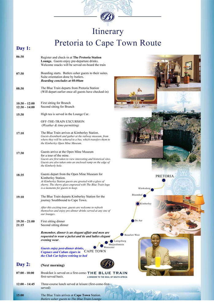 Blue Train Itinerary Pretoria to Cape Town